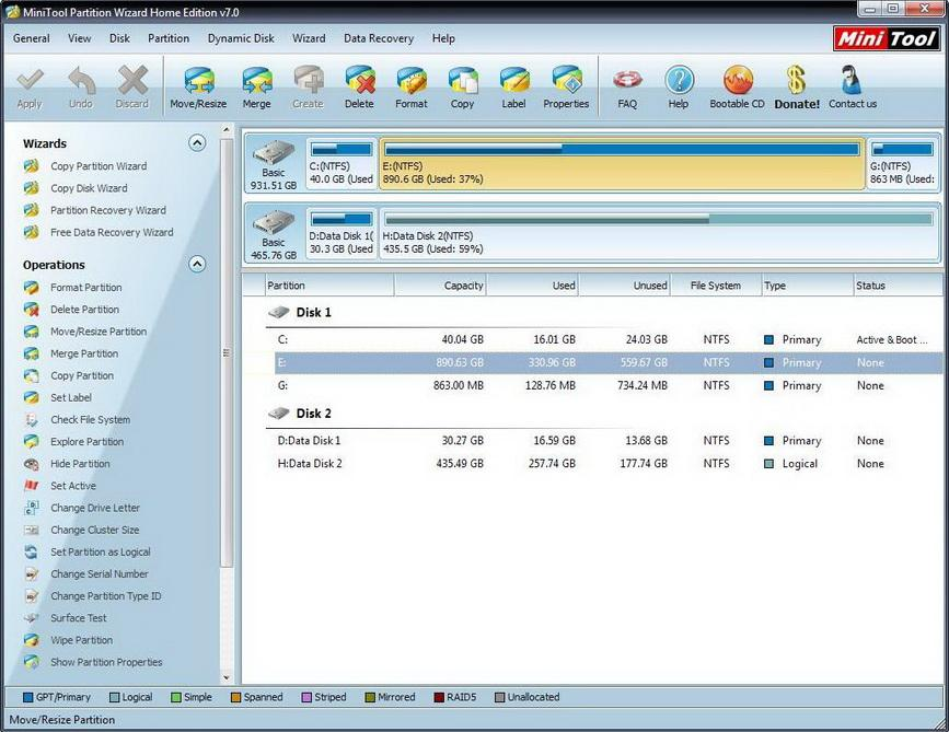 Partition Wizard 7.8 Home Edition